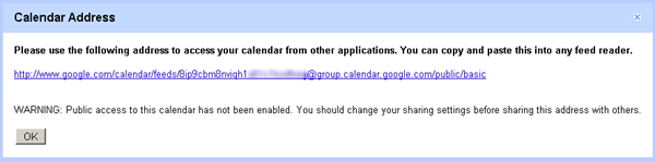 google calendar share -  XML for feed readers