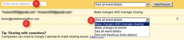 google calendar share - add a person